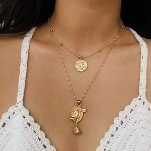 Jewelry - 4 for $25 coin Virgin Mary Rose Flower necklace